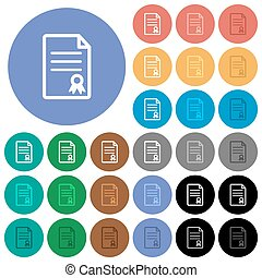 Certificate document round flat multi colored icons