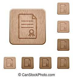 Certificate document wooden buttons