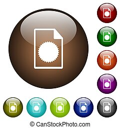 Certificate file color glass buttons