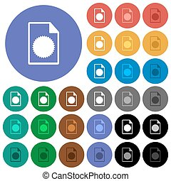 Certificate file round flat multi colored icons - ...