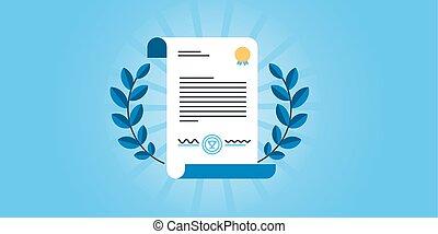 Certificate - Flat line design website banner for...