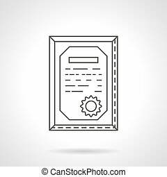 Certificate flat line vector icon