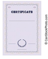 Certificate form template with guilloche background and...