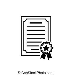 Certificate icon Achievement, award diploma symbol
