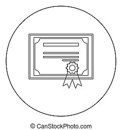 Certificate icon black color in circle