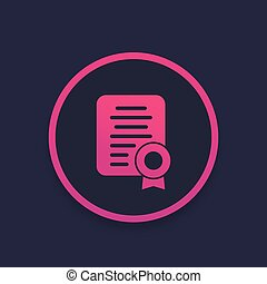 certificate icon, diploma vector, eps 10 file, easy to edit
