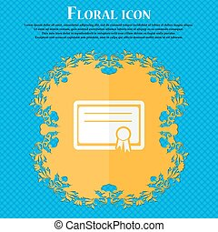 Certificate icon. Floral flat design on a blue abstract background with place for your text. Vector