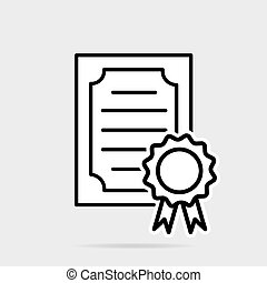 Certificate icon in flat style. License badge vector illustration on gray isolated background