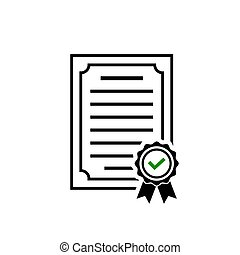 Certificate icon, rosette symbol and green check