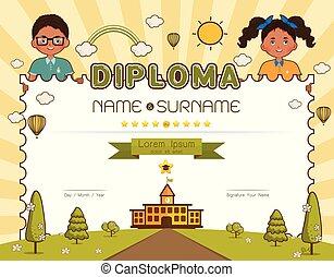 muslim kids diploma certificate vector illustration diploma