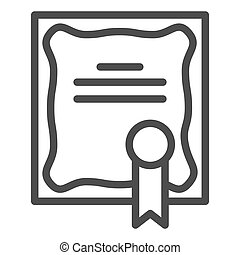 Certificate line icon. Diploma award with seal symbol, ...