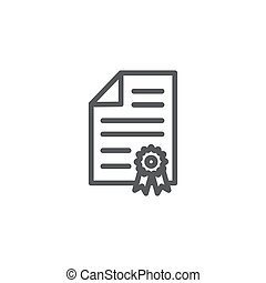 Certificate line icon isolated on white background