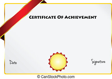 Certificate Of Achievement Diploma Of Excellence Certificate With Gold Ribbon Vector Illustration