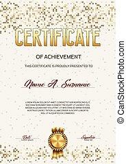 Certificate of Achievement. Pixel Design.