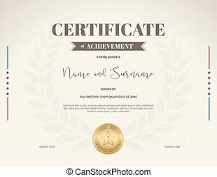 Certificate of achievement template in brown theme on beige color with laurel wreath background and gold seal