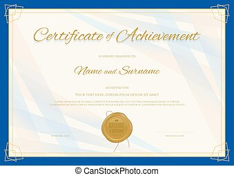 Certificate of Achievement template in modern theme with blue border