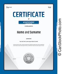 Certificate of achievement template in vector