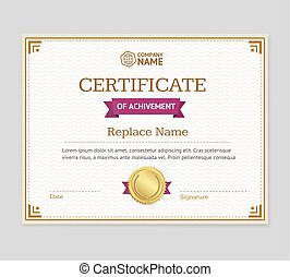 Certificate of Achievement Template. Vector