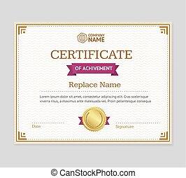 Certificate of Achievement Template. Vector