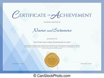 Certificate of achievement template with blue theme background, Thai line and gold wax seal
