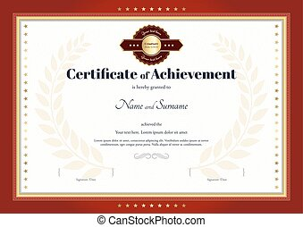 Certificate of achievement template with red border and red gold seal