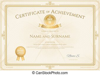 Certificate of achievement template with elegant gold border