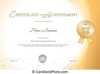 Template certificate design in gold color award certificate certificate of achievement template with environment theme in gold color yelopaper Choice Image