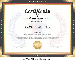 Certificate of achievement template with gold border theme and awarded wreath and star backgroun