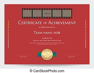 Certificate of achievement template with photo space in movie film frame on red background