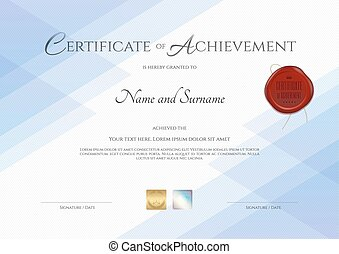 Certificate of achievement template with red wax seal in vector