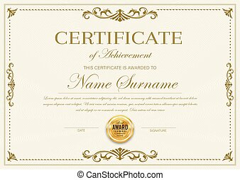 Certificate of achievement vector diploma template
