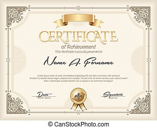 Certificate of Achievement Vintage Gold Frame Beige