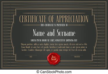 Certificate of appreciation, achievement vector illustration