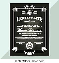 certificate of appreciation frame template in chalkboard style