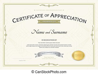 Certificate Of Appreciation Template With Silver Award Ribbon On Abstract  Guilloche Background With Vintage Border Style