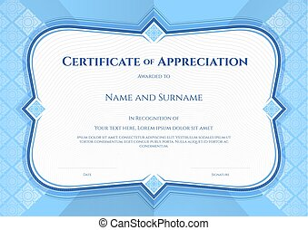 certificate of appreciation template in vector with applied thai art background blue color
