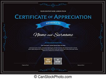 Certificate of achievement completion appreciation vectors certificate of appreciation template with award ribbon on abstract flower guilloche background yadclub Choice Image