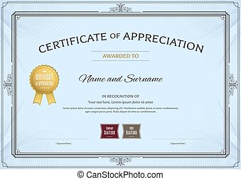 Certificate of appreciation template with award ribbon and vintage border