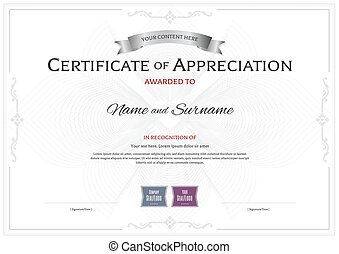 Certificate of completion appreciation achievement vector certificate of appreciation template with award ribbon on abstract flower guilloche background yadclub Images