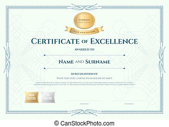 Certificate of excellence template with gold award ribbon on ...