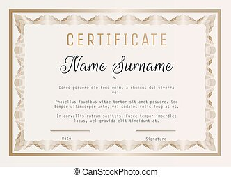 Certificate of appreciation vector template with guilloche border.