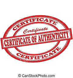 Certificate of authenticity - Stamp with text certificate of...