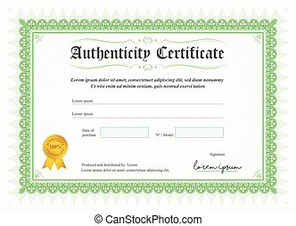 Certificate of authenticity, vector illustration with ...