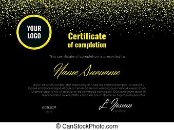 Certificate of completion - appreciation, achievement, graduation, diploma or award - with the reflection on the black background.