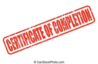 CERTIFICATE OF COMPLETION red stamp text