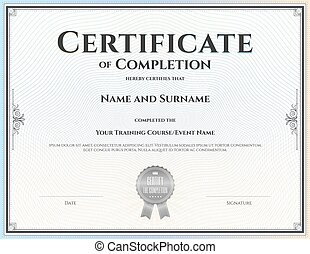 Certificate of completion template in vector for achievement...