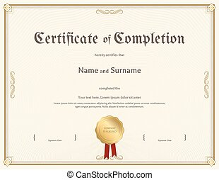 Certificate of completion template in vintage theme