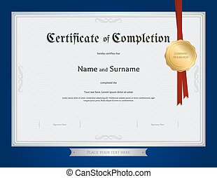 Certificate of completion template with blue border