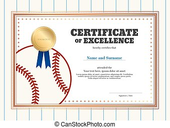 Certificate Of Excellence Template In Sport Theme For Baseball Event With  Baseball Shirt Style Background