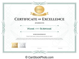 Certificate Of Excellence Template With Award Ribbon On Abstract Guilloche  Background With Vintage Border Style